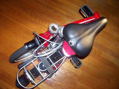 Folding bike, in folded position